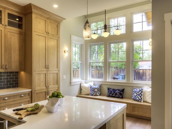 tan kitchen with break nook